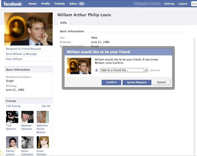 "Fake Prince William's Facebook Fools A-List ""Friends"""