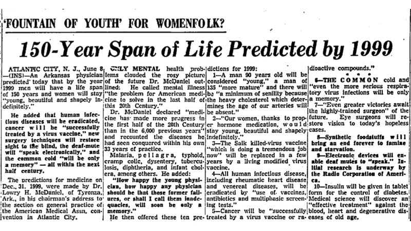 Medical predictions for the 21st century from 1955 were equal parts inspiring and gut-busting