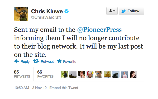 Chris Kluwe Leaves The Pioneer-Press After The Paper Publishes An Anti-Gay Marriage Editorial