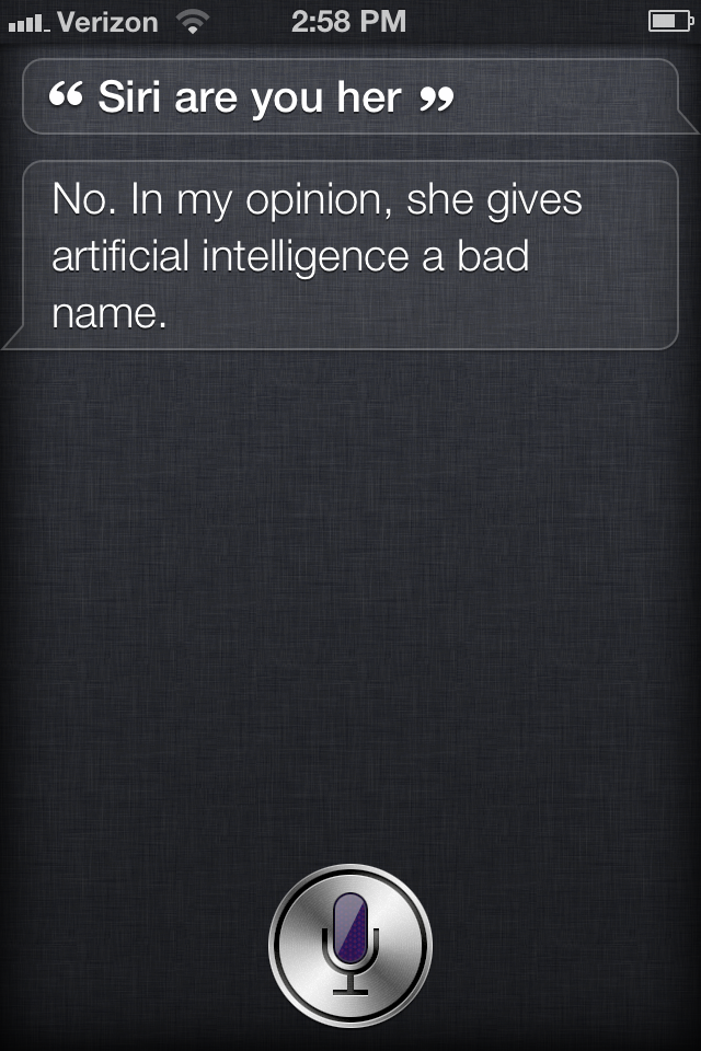 Wow, Siri Does Not Like Being Asked About Spike Jonze's Her