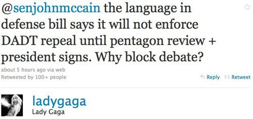 Lady Gaga Confronts John McCain On Twitter