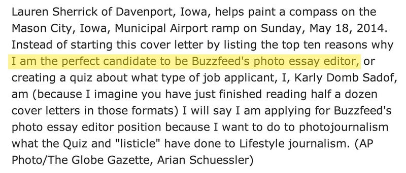 AP Editor Accidentally Adds Her Buzzfeed Cover Letter to Photo Caption