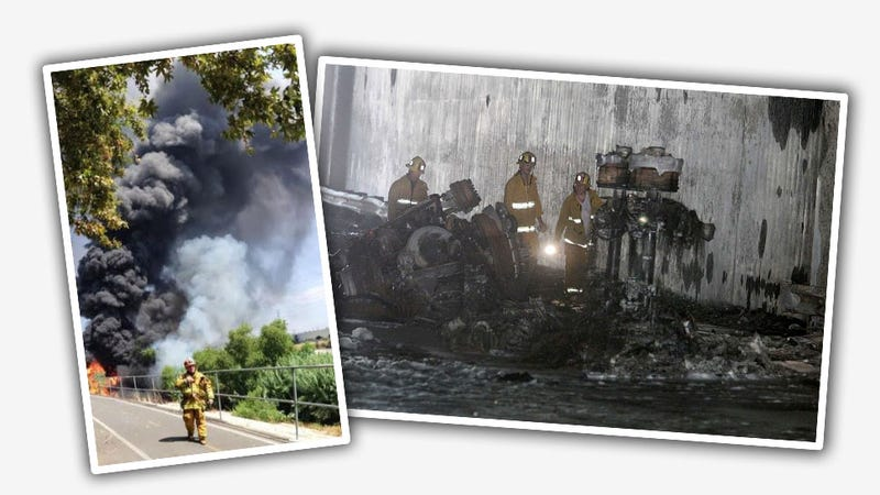 Tanker Full of 7,500 Gallons Of Fuel Explodes Near LA River