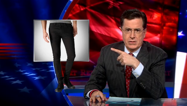 """Stephen Colbert Gives a Wag of the Finger to Levi's Snug-Fitting """"Ex-Girlfriend Jeans"""""""
