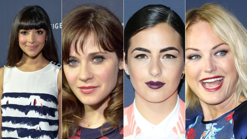 Zingy Prints and Springy Stripes at the Zooey Deschanel Party