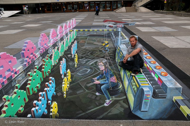 3D Space Invaders Chalk Art