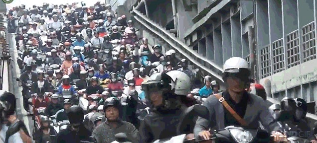 Insane scooter traffic on a highway ramp in Taiwan