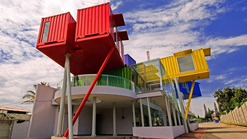 Seven Shipping Containers Make Up This Colorful Library