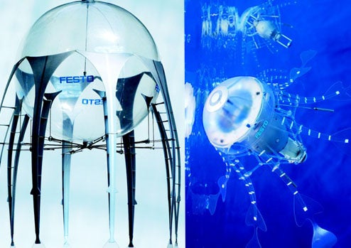 AquaJelly and AirJelly Robot Jellyfish At Home In the Water or the Sky