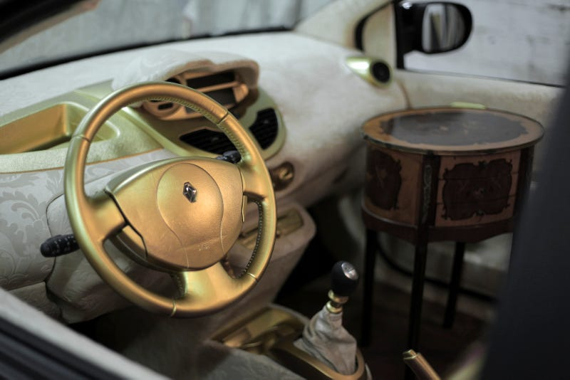 This car's interior is covered in pasta