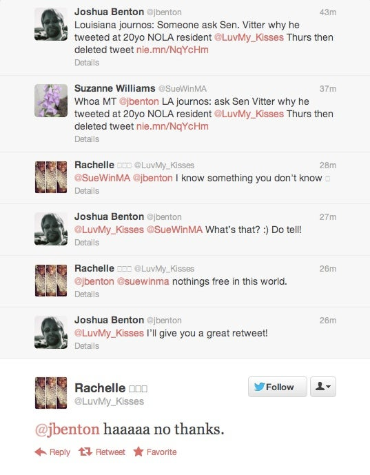 Why Was Philandering Senator David Vitter Tweeting to This Young Lady Last Night?