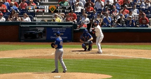Marlon Byrd Broke His Bat Swinging Without Making Contact With The Ball
