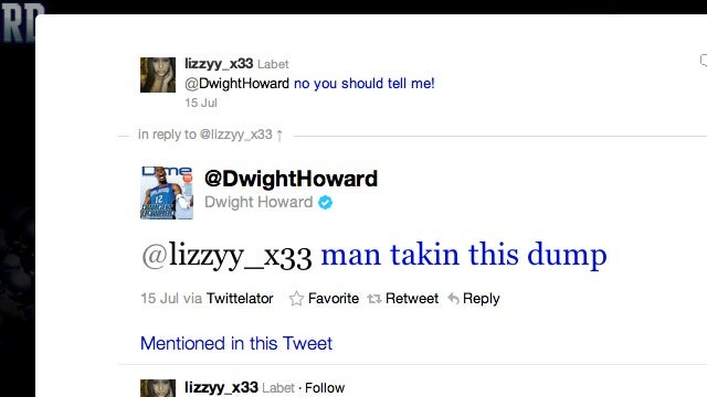 Dwight Howard Tweeted About His Dump To Some Young Lady