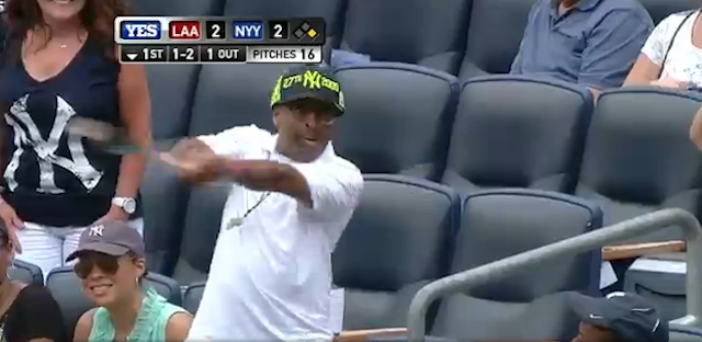 Spike Lee Catches A Bat At Yankee Stadium, Grins Like A Kid On Christmas