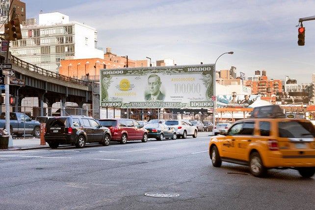 John Baldessari Erects Fake $100,000 Bill At The High Line