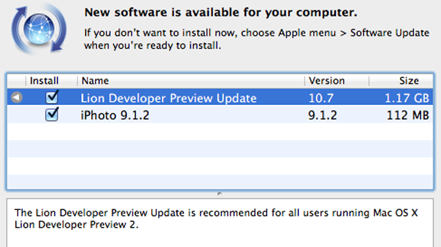 Apple Outs Update for OS X Lion Preview 2
