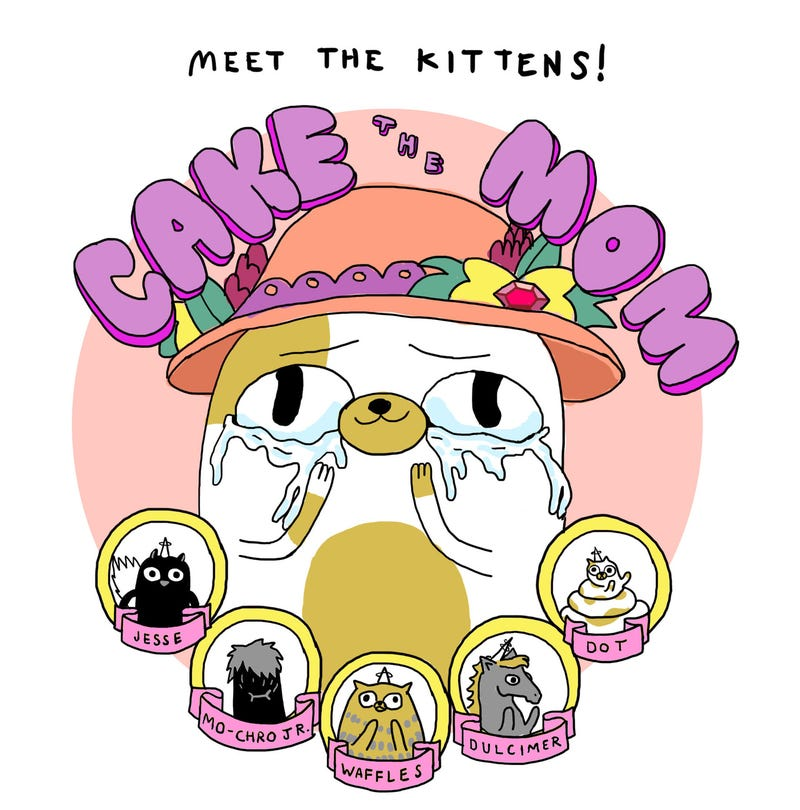 Now that Jake the Dog is going to be a dad, let's meet Cake the Mom