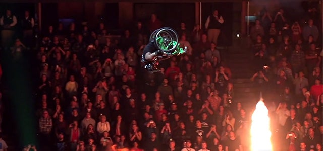 Badass guy does a front-flip over a 50-foot gap in a wheelchair