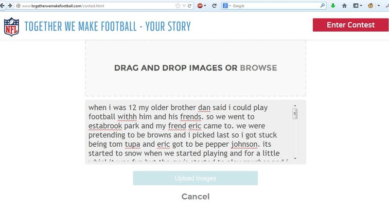 Please Make Sure You Share Your Football Stories With The NFL