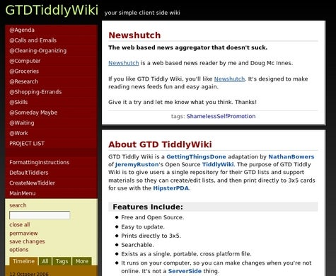 Get organized with GTDTiddlyWiki