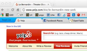 Taplio Adds Tabs for All Related Restaurant Sites to Your Search in Chrome and Safari