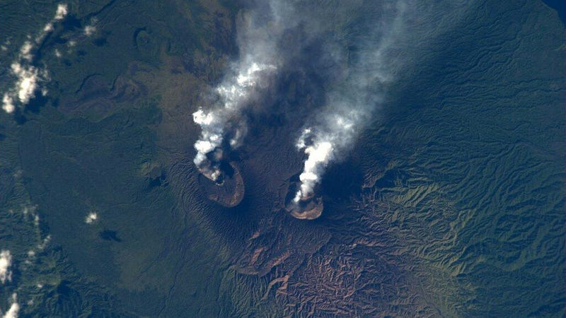 Double volcano eruption -- as seen from space!