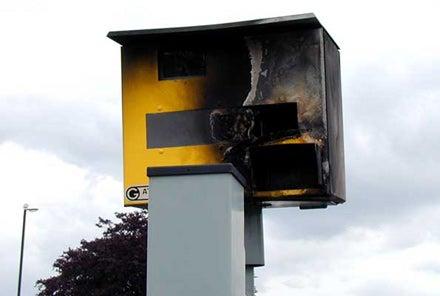 Dumb British Hooligans Burning Traffic Cams in England