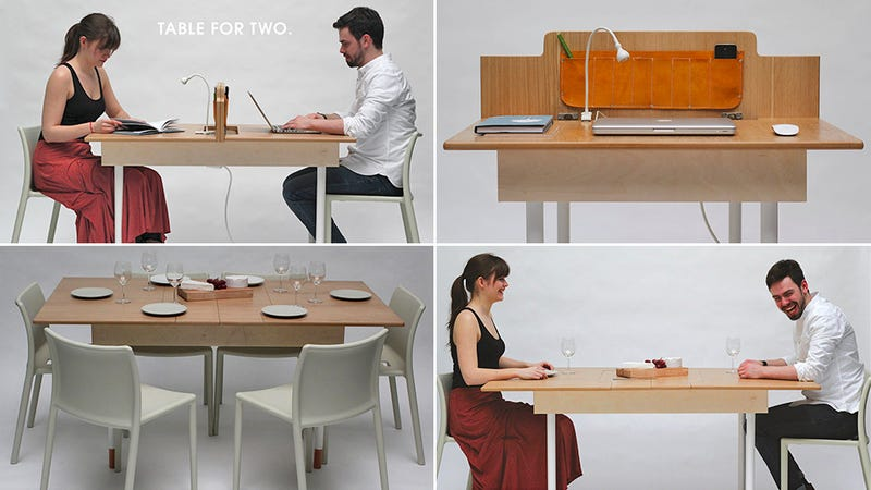 An Office For Two That Transmogrifies Into a 6-Person Dining Table
