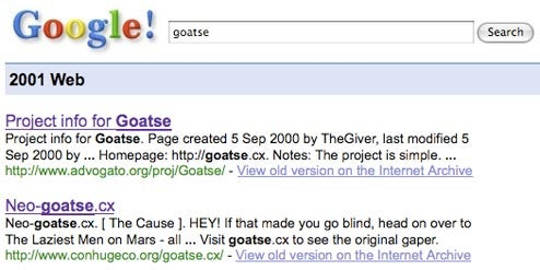 Google launches vintage search index from 2001