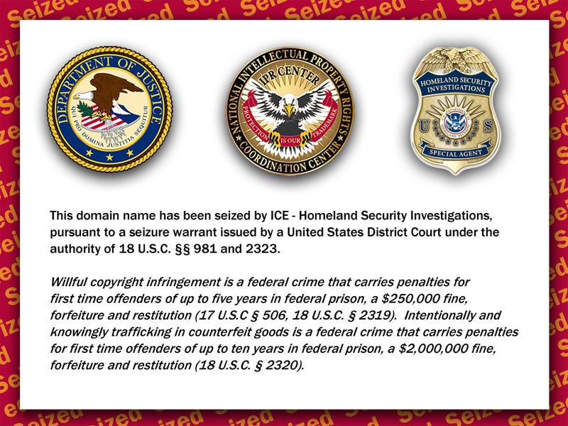 Department of Homeland Security Seizes Copyright-Violating Domain Names