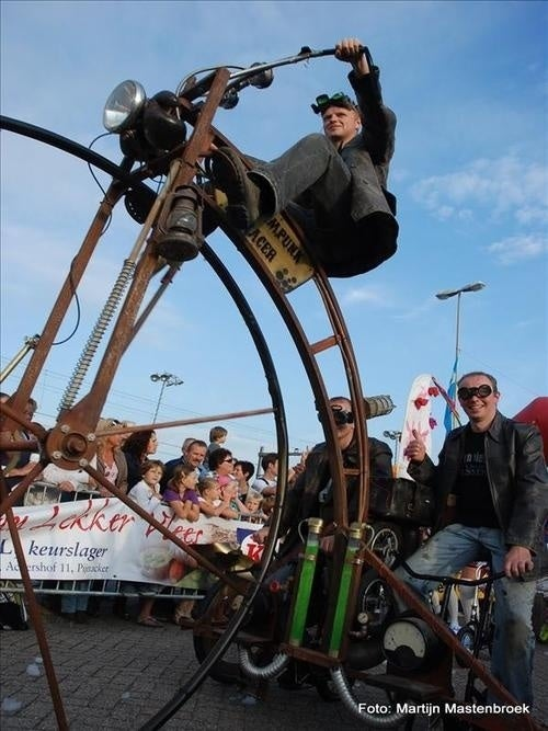 All aboard the steampunk velocipede!