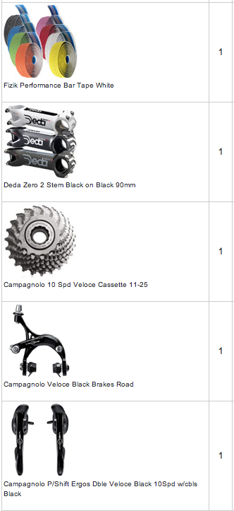 The bike frame and all components have been ordered.