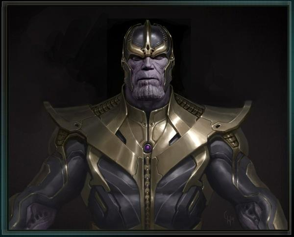 Thanos concept art from The Avengers shows the mad titan close up