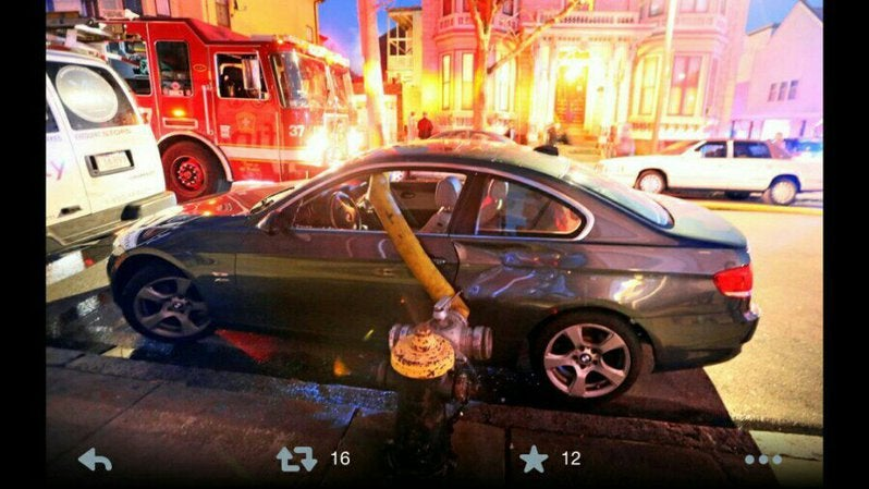 Illegally Parked BMW Smashed By Boston Firefighters during a 8-alarm fire