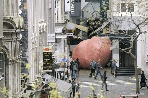 The Blob Attacks New Zealand — For Breast Cancer!