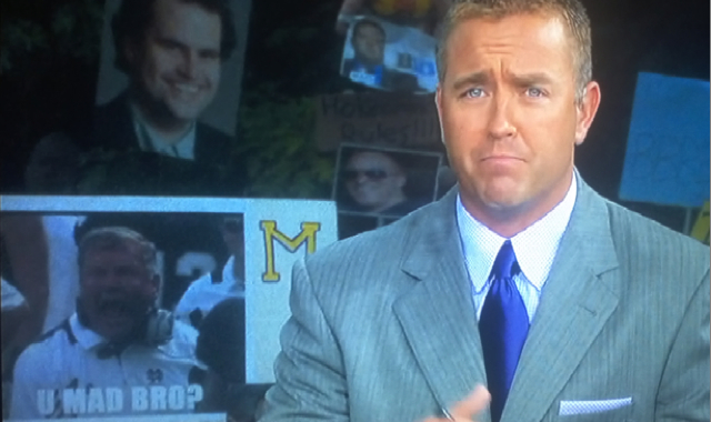 "Brian Kelly Gets The ""U Mad Bro?"" College GameDay Sign Treatment"