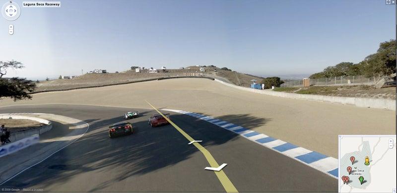 Google Street View Car Speeding Through Laguna Seca Racetrack