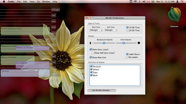 Mindful Displays iCal Events and Reminders on Your Desktop