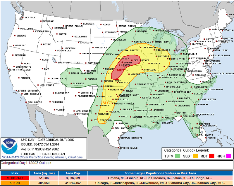 Moderate Risk for Severe Weather Across Plains and Midwest Today