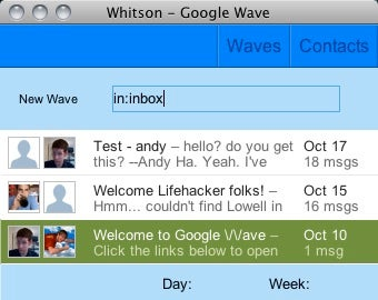 Waver is a Compact Google Wave Client