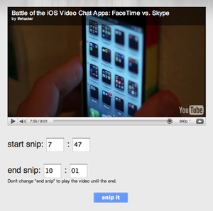 SnipSnip.it Let's You Easily Share Any Portion of a YouTube Video
