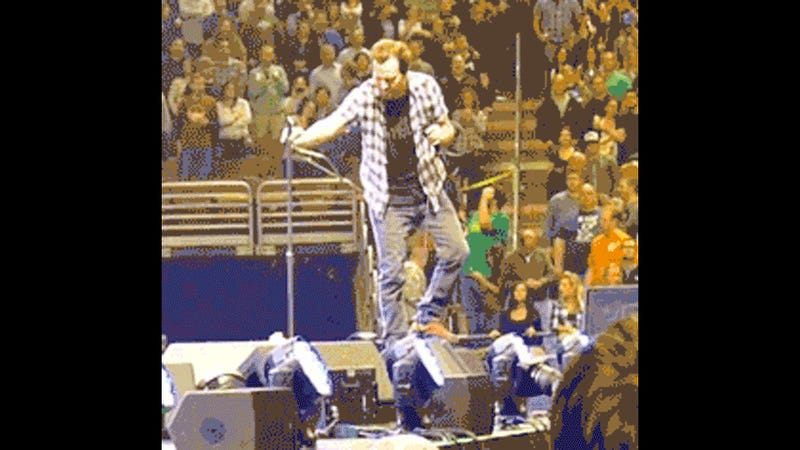 Here's a GIF of Eddie Vedder Falling Down, Over and Over Again