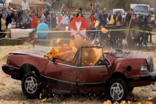 What Happens When You Drop a 1,200 lb. Pumpkin Onto a Pontiac?