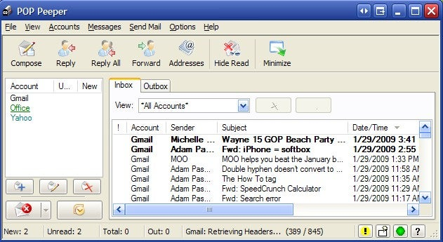 POP Peeper Monitors Multiple Email Accounts
