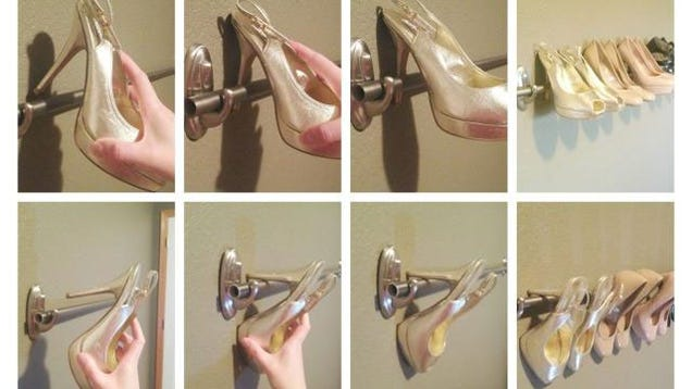 Finally, if you have a collection of shoes with heels, hang a curtain ...