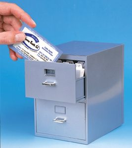 Mini Desktop Filing Cabinet for All Those Biz Cards