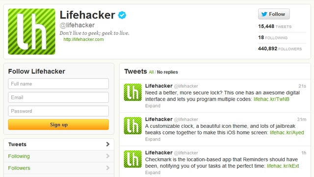 Follow Lifehacker and Our Writers on Twitter for Extra Goodness