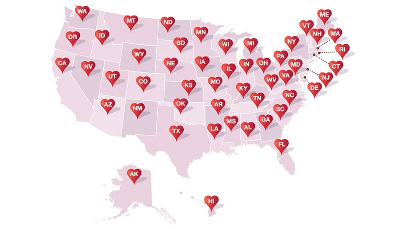 Amazon Has a Map of Books with Love Stories in All 50 States