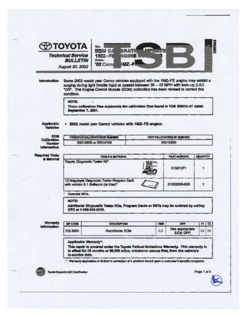 Toyota 2002 Camry Technical Servuice Bulletin: Document Scans