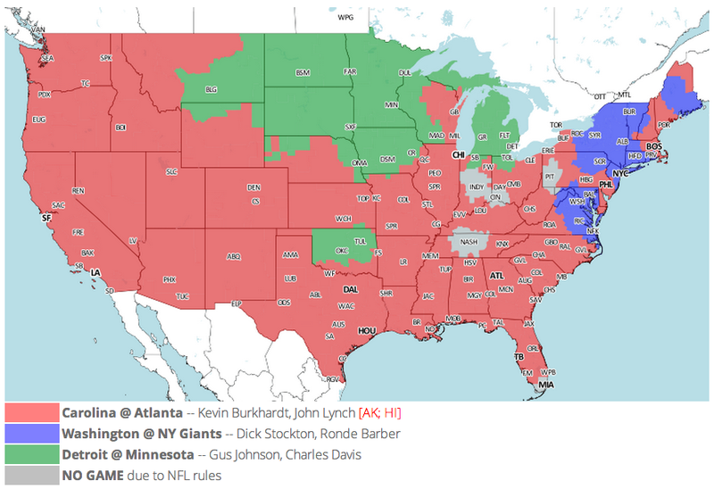 Which TV Market's Getting Screwed Today? Your Week 17 NFL Viewing Maps